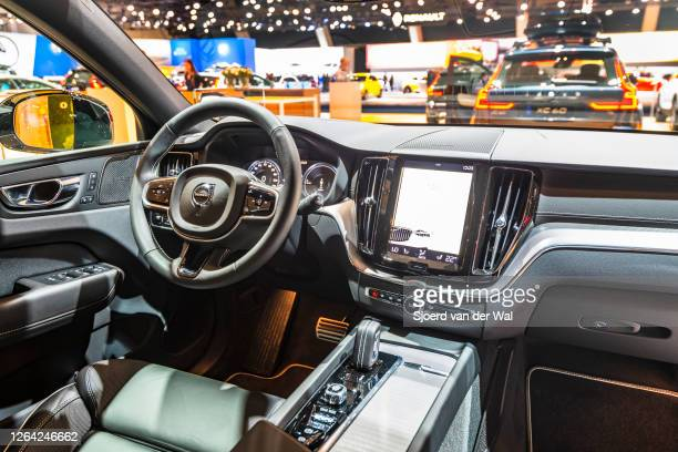 Volvo XC60 crossover SUV interior on display at Brussels Expo on January 9, 2020 in Brussels, Belgium. The XC60 is available with petrol and diesel...