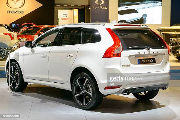 volvo xc60 crossover suv rear view - volvo stock pictures, royalty-free photos & images