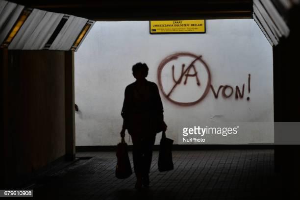 Von' a racist wall inscription against Ukrainians seen inside an underground passageway, in Czerwony Pradnik area of Krakow, on May 6, 2017.