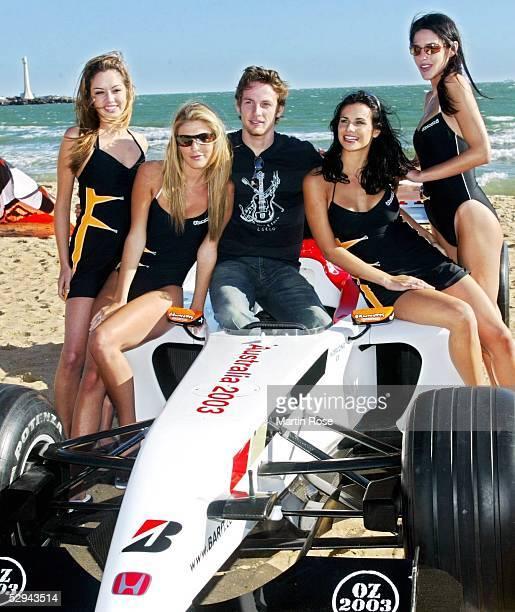 GP von Australien 2003 Melbourne Jenson BUTTON /ENG BAR Honda mit F1 Girls