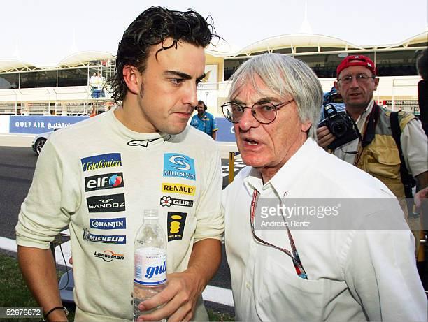 Von Bahrain, Manama, 03.04.05; Sieger Fernando ALONSO/ESP - Team Renault -, Bernie ECCELSTONE/FIA Chef