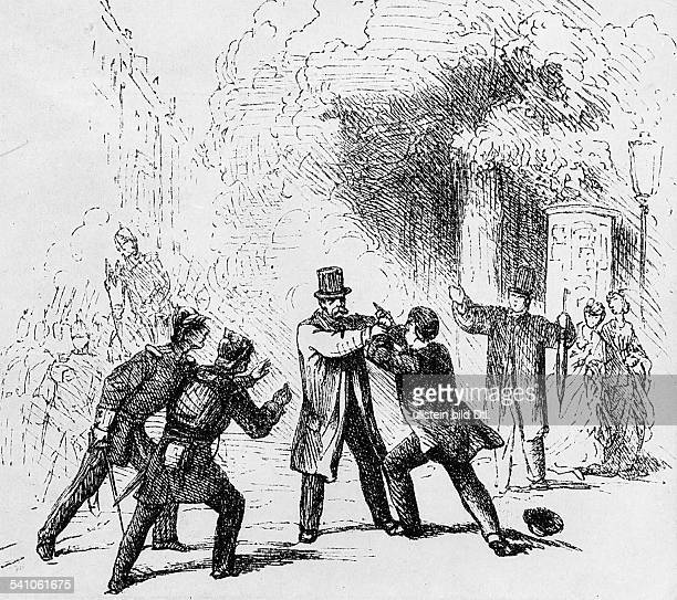 PRINCE OTTO von BISMARCK Prussian statesman Assassination attempt on Bismarck by Ferdinand Blind 7 May 1866 Line engraving 19th century