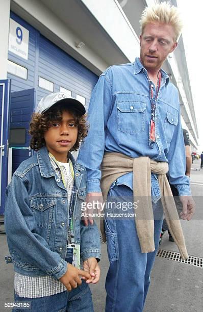 GP von EUROPA 2002 Nuerburgring Boris BECKER mit Sohn Noah Gabriel
