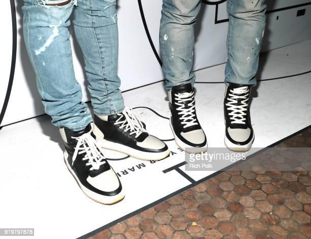 Von Miller and Harold Hadnott both wearing Fear of God Paris Sky Gray/Black sneaker attend GOAT and James Harden Celebrate NBA AllStar Weekend 2018...