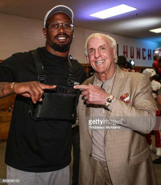 Von Miller and Ric Flair in the locker rooms at Huncho Day at Berkmar High School on April 1, 2018 in Lilburn, Georgia.