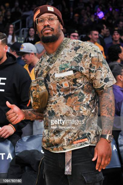 Von Miller attends a basketball game between the Los Angeles Lakers and the Chicago Bulls at Staples Center on January 15, 2019 in Los Angeles,...