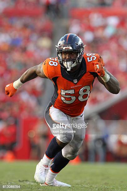 Von Miller of the Broncos rushes the passer during the regular season game between the Denver Broncos and the Tampa Bay Buccaneers at Raymond James...
