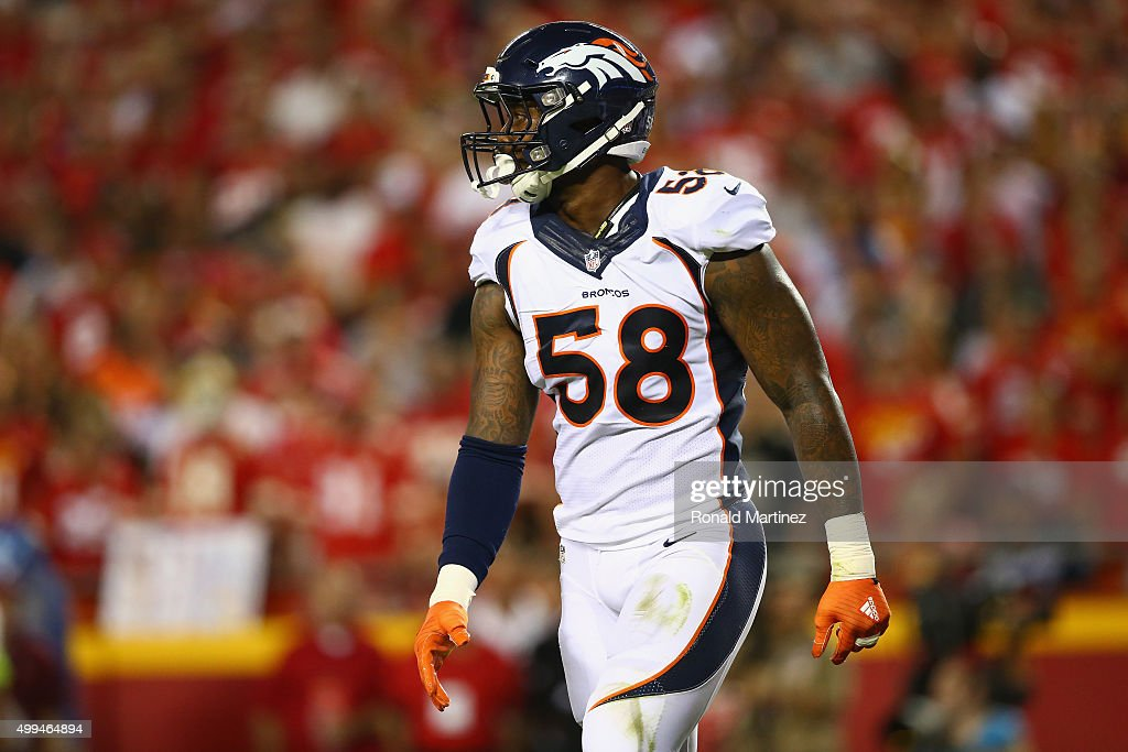 Von Miller #58 of the Denver Broncos at Arrowhead Stadium on September 17, 2015 in Kansas City, Missouri.