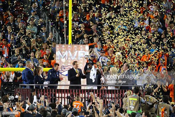Von Miller of the Denver Broncos celebrates with the Vince Lombardi Trophy after defeating the Carolina Panthers during Super Bowl 50 at Levi's...
