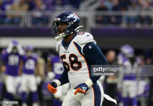 Von Miller of the Denver Broncos on the field in the first quarter of the game against the Minnesota Vikings at US Bank Stadium on November 17 2019...