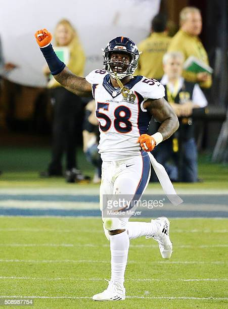 Von Miller of the Denver Broncos reacts after a play in the third quarter against the Carolina Panthers during Super Bowl 50 at Levi's Stadium on...