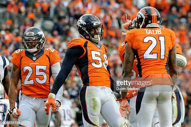 Von Miller of the Denver Broncos reacts after a sack in the third quarter against the New England Patriots in the AFC Championship game at Sports...