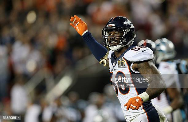 Von Miller of the Denver Broncos reacts while playing against the Carolina Panthers during Super Bowl 50 at Levi's Stadium on February 7 2016 in...