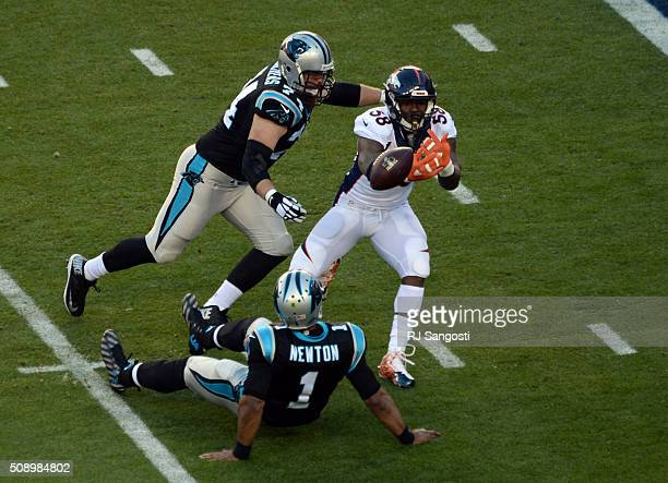 Von Miller of the Denver Broncos sacks Cam Newton of the Carolina Panthers resulting in the Broncos first touchdown of the game by Malik Jackson of...