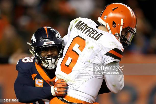 Von Miller of the Denver Broncos sacks quarterback Baker Mayfield of the Cleveland Browns to surpass Simon Fletcher as the Broncos alltime sack...
