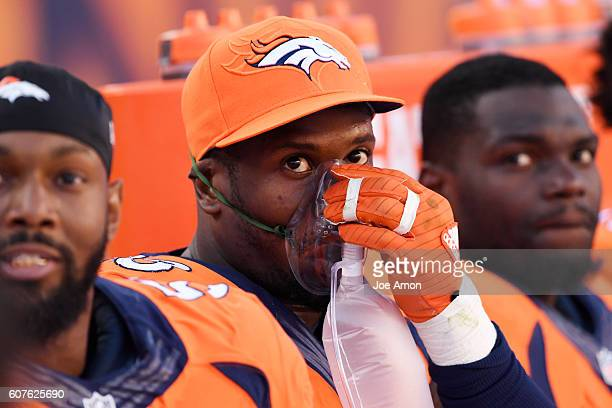 Von Miller of the Denver Broncos takes some oxygen between possessions against the Indianapolis Colts during the fourth quarter of the Broncos' 3420...