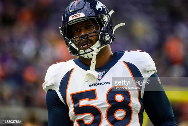 Von Miller of the Denver Broncos warms up before the game against the Minnesota Vikings at U.S. Bank Stadium on November 17, 2019 in Minneapolis,...