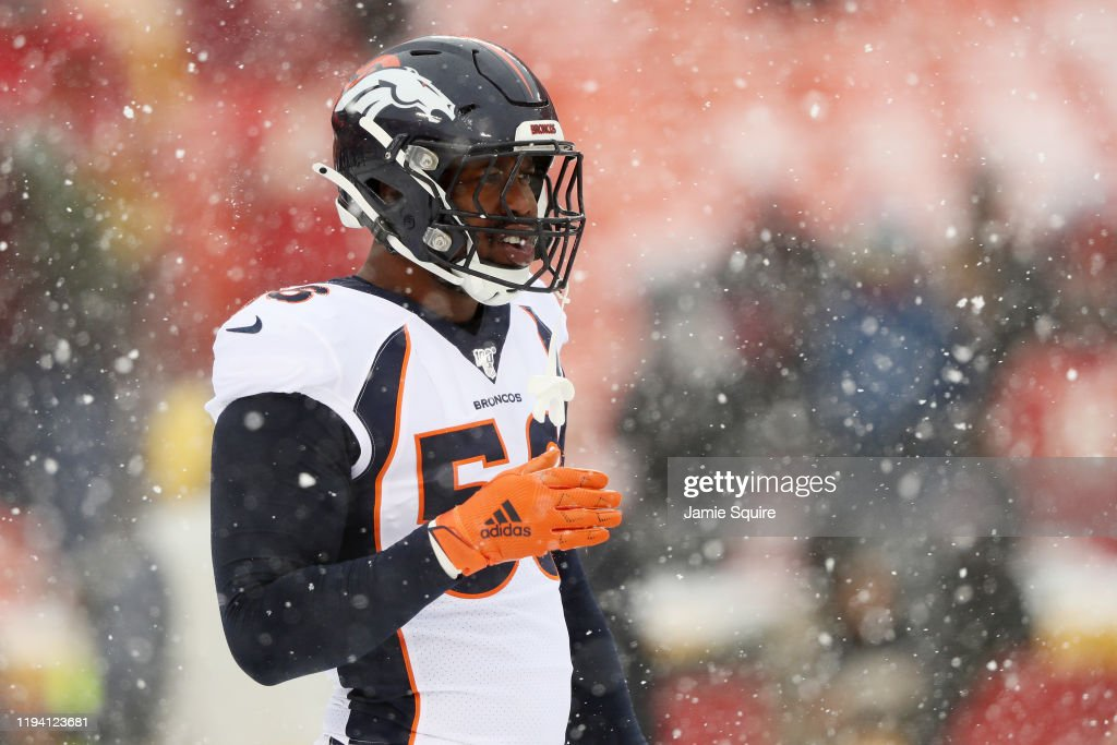 Von Miller Of The Denver Broncos Warms Up Prior To Their