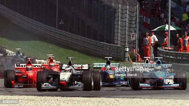Von OESTERREICH 1998, Zeltweg, 23.07.99, START: v.l.: Michael SCHUMACHER/FERRARI, Mika HAEKKINEN/McLaren Mercedes, Giancarlo FISICHELLA/BENETTON