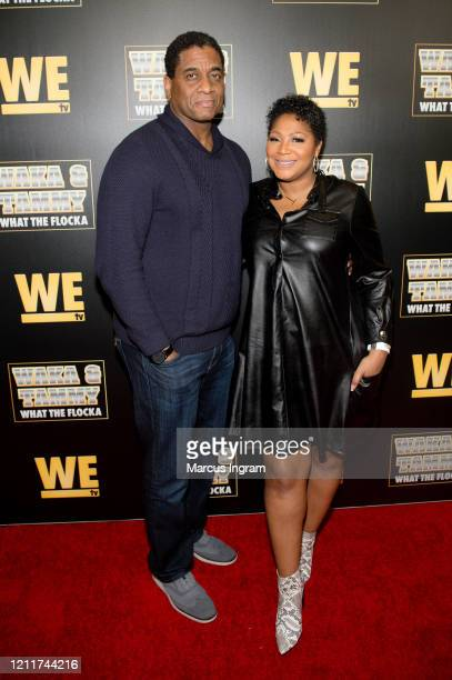"Von Scales and Trina Braxton attend the WE tv ""Waka & Tammy: What The Flocka"" premiere event at Republic Lounge on March 10, 2020 in Atlanta, Georgia."
