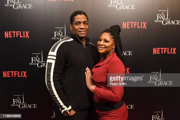 """Von Scales and Trina Braxton-Scales attend Tyler Perry's """"A Fall From Grace"""" VIP Screening at SCAD Show on January 09, 2020 in Atlanta, Georgia."""
