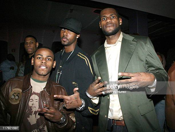 Von Smith, Larry Hughes and LeBron James during LeBron James Post-Game After Party - April 5, 2006 at BED in New York City, New York, United States.