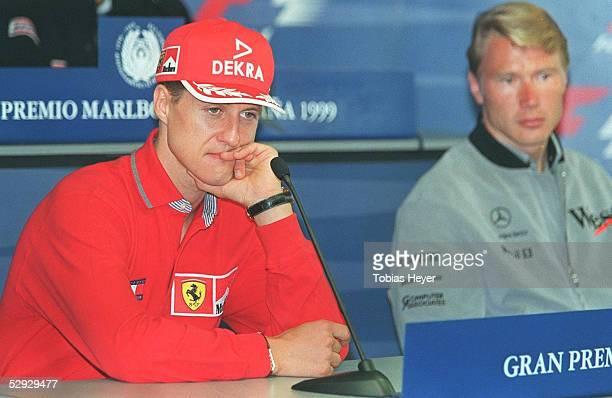 GP von SPANIEN 1999 Barcelona PK/PRESSEKONFERENZ Michael SCHUMACHER/Ferrari Mika HAEKKINEN/MCLAREN MERCEDES