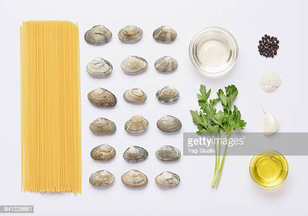 vongole bianco pasta knolling style - clams stock photos and pictures