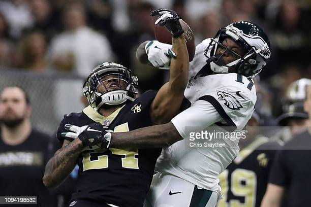 Vonn Bell of the New Orleans Saints breaks up a pass against Alshon Jeffery of the Philadelphia Eagles during the NFC Divisional Playoff at the...