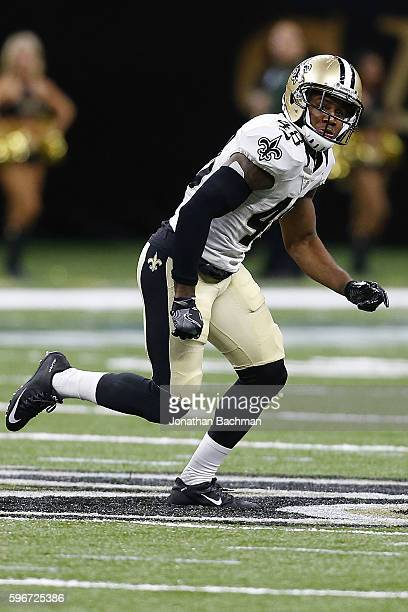 Vonn Bell of the New Orleans Saints drops back during the second half of a game at the MercedesBenz Superdome on August 26 2016 in New Orleans...