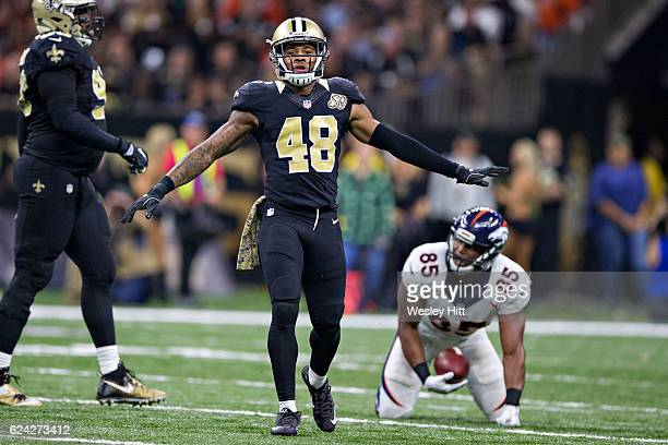 Vonn Bell of the New Orleans Saints signals no first down during a game against the Denver Broncos at MercedesBenz Superdome on November 13 2016 in...