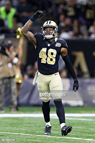 Vonn Bell of the New Orleans Saints signals to the sidelines during a game against the Los Angeles Rams at MercedesBenz Superdome on November 27 2016...