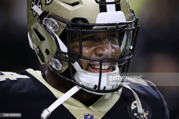 Vonn Bell of the New Orleans Saints warms up before a game against the Atlanta Falcons at the MercedesBenz Superdome on November 22 2018 in New...