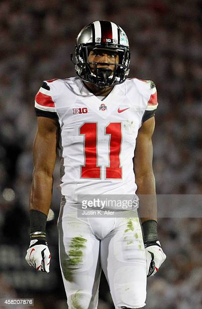 Vonn Bell of the Ohio State Buckeyes looks on during the game against the Penn State Nittany Lions on October 25 2014 at Beaver Stadium in State...