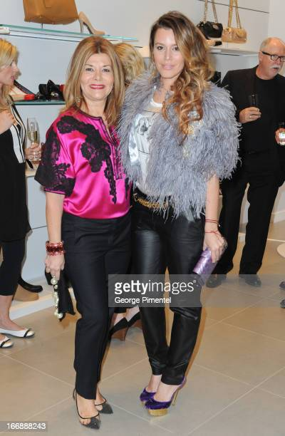 Vonna Bitove and Jenna Bitove attend opening of Stuart Weitzman Boutique on April 17, 2013 in Toronto Ontario Canada.