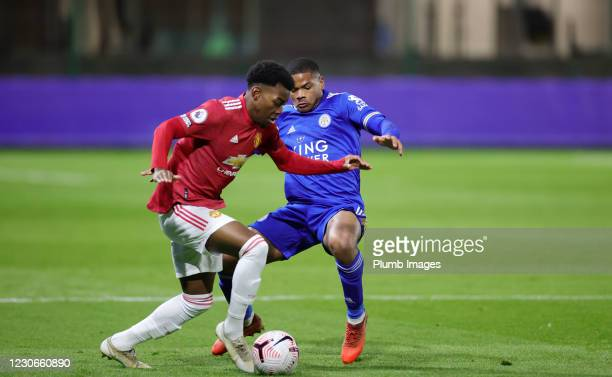 Vontae Daley Campbell of Leicester City in action with Dylan Levitt of Manchester United during the Premier League 2 match between Leicester City and...