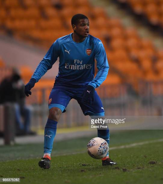 Vontae DaleyCampbell of Arsenal during the match between Blackpool and Arsenal at Bloomfield Road on March 20 2018 in Blackpool England