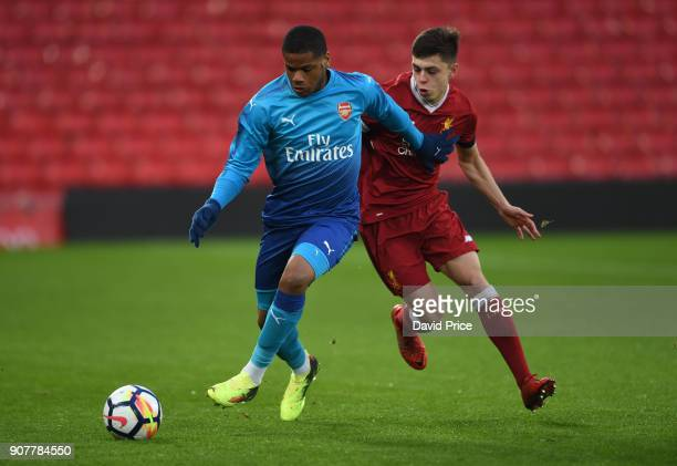 Vontae DaleyCampbell of Arsenal takes on Adam Lewis of Liverpool during the FA Youth Cup 4th Round match between Liverpool and Arsenal at Anfield on...