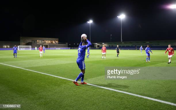 Vontae Daley-Campbell of Leicester City takes a throw in during the Premier League 2 match between Leicester City and Manchester United at Leicester...