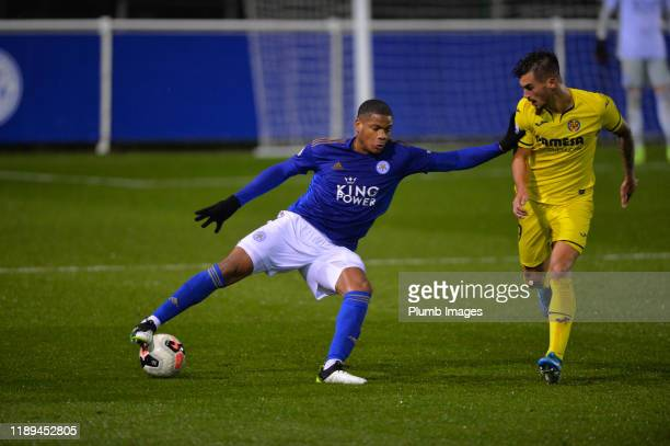 Vontae DaleyCampbell of Leicester City with Alejandro Millán Iranzo of Villarreal during the Leicester City U23 v Villarreal B PL International Cup...