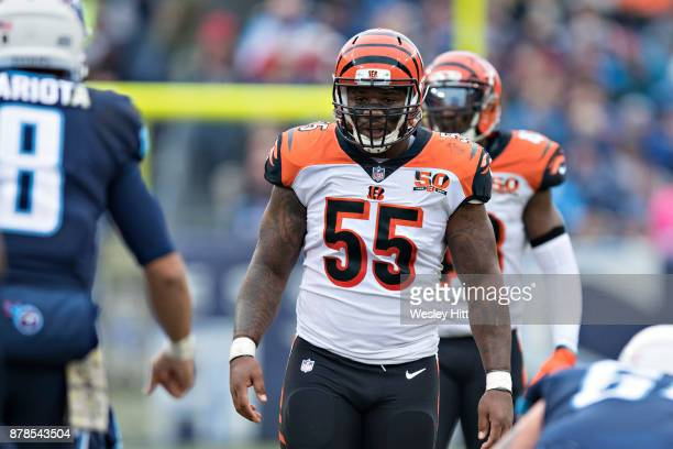 Vontaze Burfict of the Cincinnati Bengals looks over the offense before a play during a game against the Tennessee Titans at Nissan Stadium on...