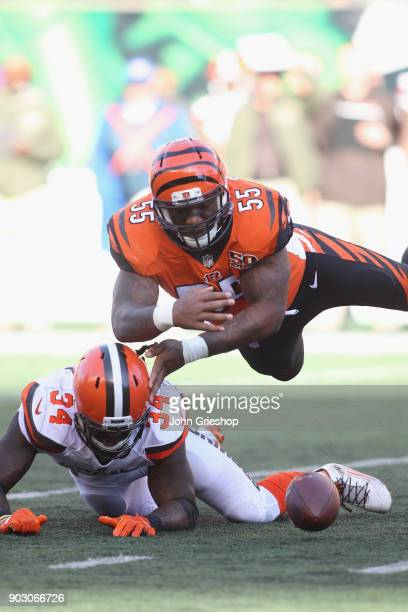 Vontaze Burfict of the Cincinnati Bengals makes the hit on Isaiah Crowell of the Cleveland Browns during their game at Paul Brown Stadium on November...