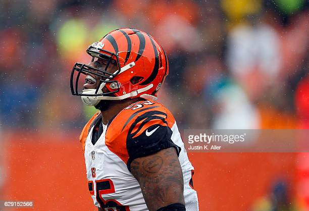Vontaze Burfict of the Cincinnati Bengals reacts after a defensive play against the Cleveland Browns at Cleveland Browns Stadium on December 11 2016...