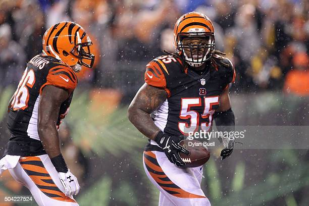 Vontaze Burfict of the Cincinnati Bengals reacts after sacking Ben Roethlisberger of the Pittsburgh Steelers in the third quarter during the AFC Wild...