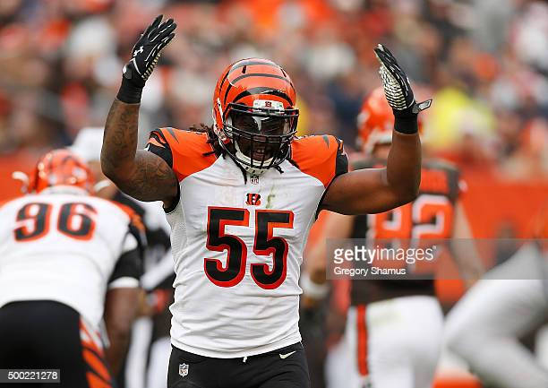 Vontaze Burfict of the Cincinnati Bengals reacts to a second quarter defensive stop while playing the Cleveland Browns at FirstEnergy Stadium on...