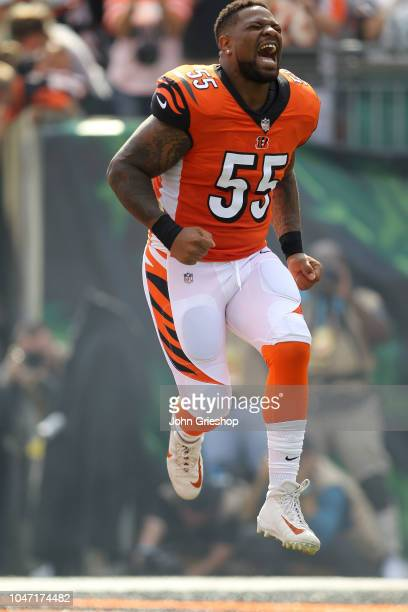 Vontaze Burfict of the Cincinnati Bengals runs on to the field after being introduced to the crowd prior to the start of the game against the Miami...
