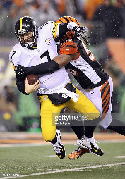 Vontaze Burfict of the Cincinnati Bengals sacks Ben Roethlisberger of the Pittsburgh Steelers in the third quarter during the AFC Wild Card Playoff...