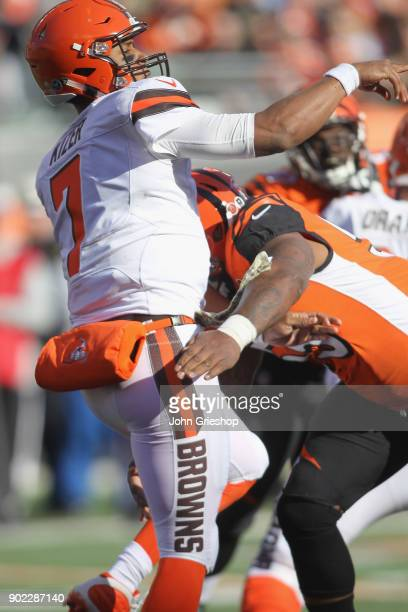 Vontaze Burfict of the Cncinnati Bengals puts the pressure on DeShone Kizer of the Cleveland Browns during their game at Paul Brown Stadium on...
