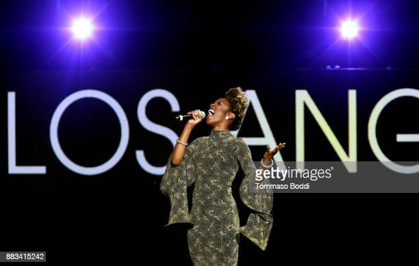 Vonzell Solomon performs onstage during the AHF World AIDS DAY Concert and 30th Anniversary Celebration featuring Mariah Carey and DJ Khaled at the...