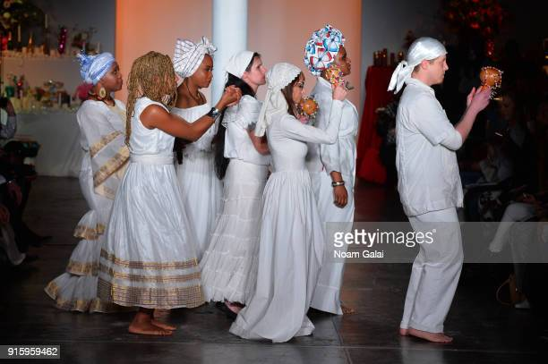 Voodoo ceremony is performed during Ceremony: Xuly.Bet x Mimi Prober x Hogan McLaughlin front row during New York Fashion Week presented by First...